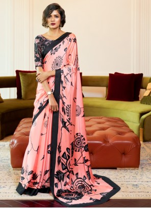 Faux Crepe Peach Printed Traditional Saree