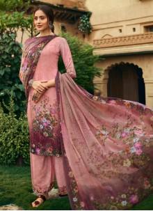 Faux Crepe Pink Digital Print Salwar Kameez