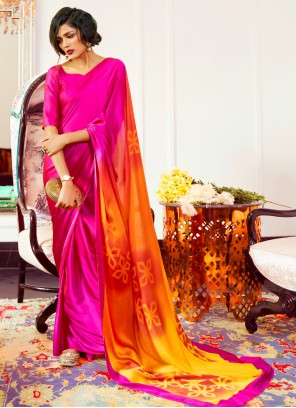 Faux Crepe Pink Printed Contemporary Saree