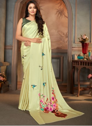 Faux Crepe Print Casual Saree in Yellow