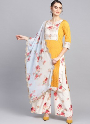 Faux Crepe Print Yellow Readymade Suit
