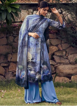 Faux Crepe Printed Blue Palazzo Suit
