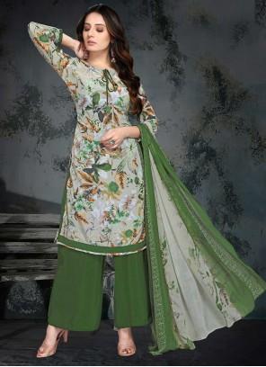 Faux Crepe Printed Green Palazzo Salwar Suit