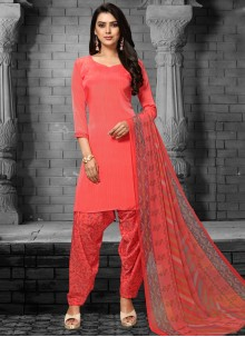 Faux Crepe Printed Red Patiala Salwar Suit