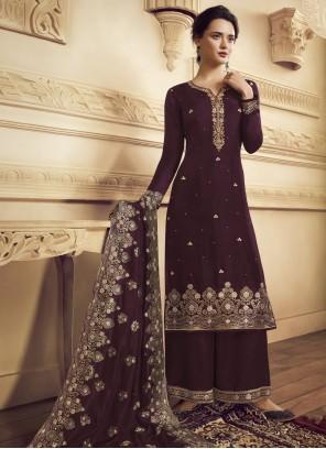 Faux Crepe Purple Embroidered Bollywood Salwar Kameez