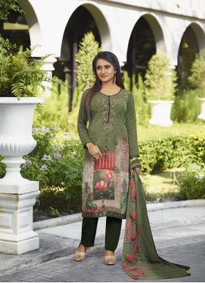 Faux Crepe Salwar Kameez in Green
