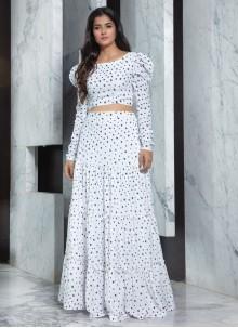 Faux Crepe White Printed Designer Lehenga Choli