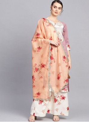Faux Crepe Wine Print Readymade Suit