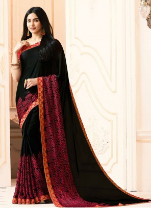 Faux Georgette Abstract Print Black Printed Saree