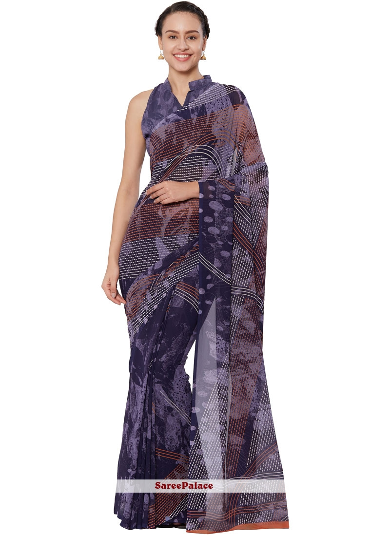 Faux Georgette Abstract Print Casual Saree