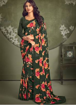 Faux Georgette Abstract Print Casual Saree in Green