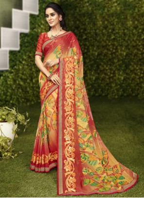 Faux Georgette Abstract Print Casual Saree in Multi Colour