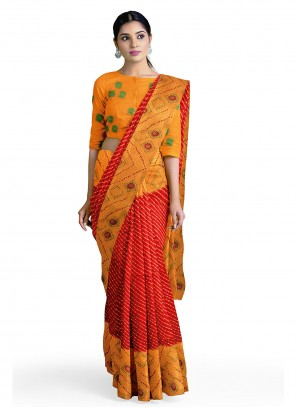 Faux Georgette Abstract Print Casual Saree in Orange and Red