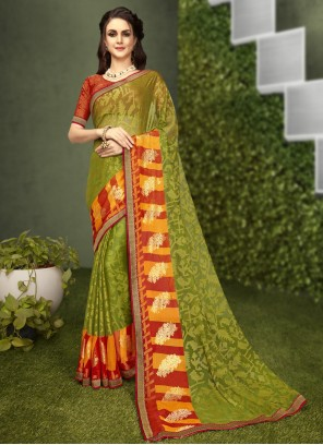 Faux Georgette Abstract Print Green Casual Saree
