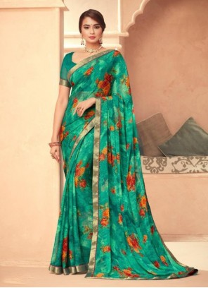 Faux Georgette Abstract Print Green Traditional Saree