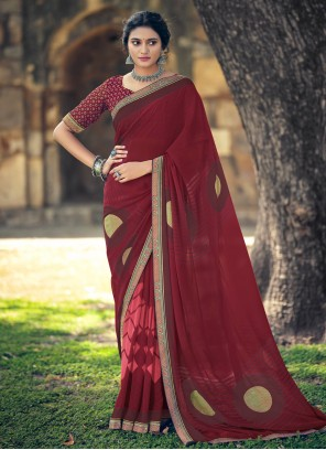Faux Georgette Abstract Print Maroon Printed Saree