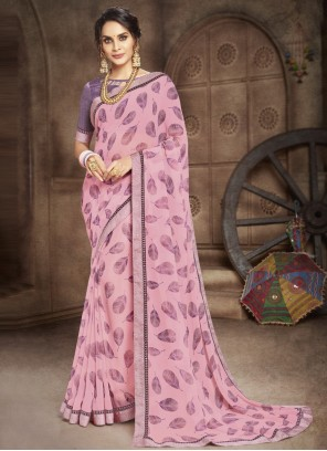 Faux Georgette Abstract Print Multi Colour Casual Saree