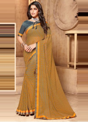 Faux Georgette Abstract Print Multi Colour Classic Saree