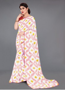 Faux Georgette Abstract Print Off White Printed Saree