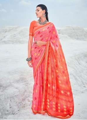 Faux Georgette Abstract Print Orange and Pink Shaded Saree