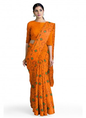 Faux Georgette Abstract Print Orange Casual Saree