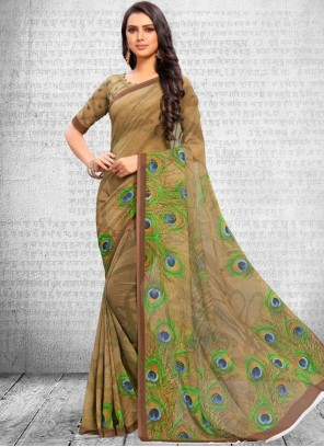 Faux Georgette Abstract Printed Saree
