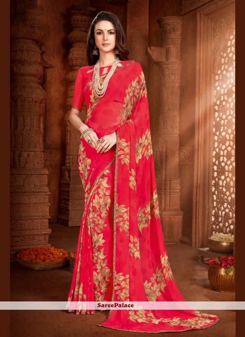 Faux Georgette Abstract Print Hot Pink Saree
