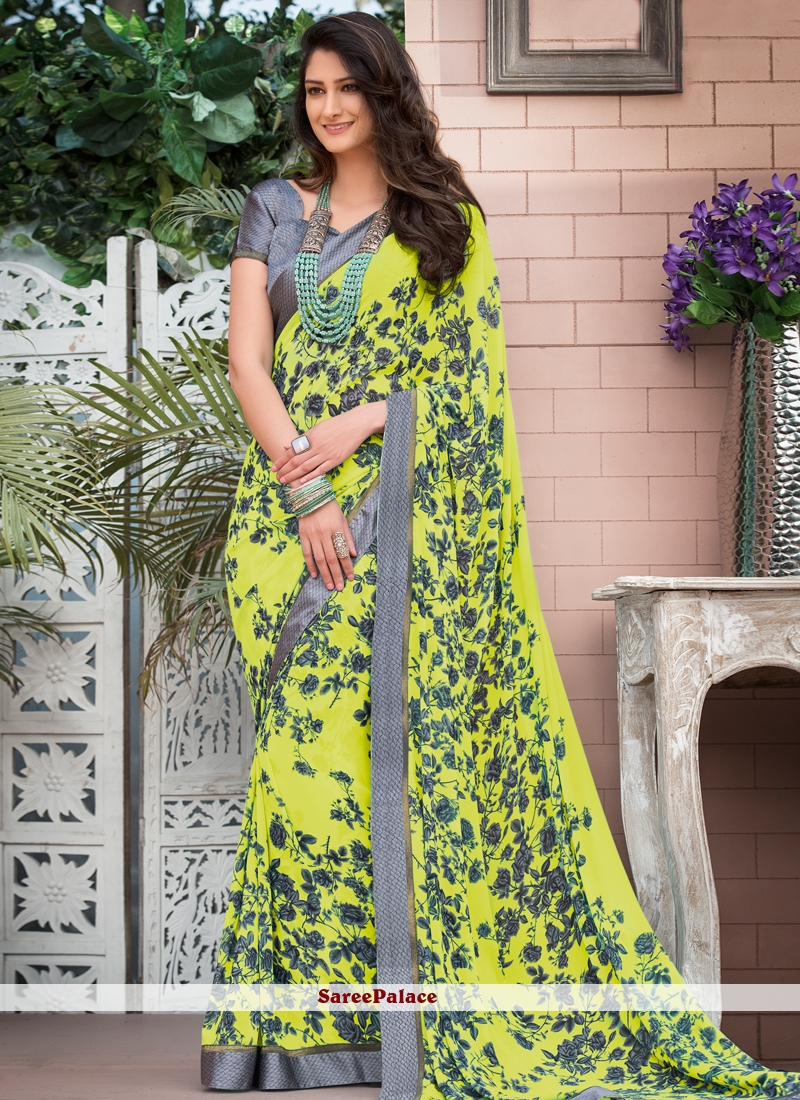 Yellow Faux Georgette Abstract Print Saree