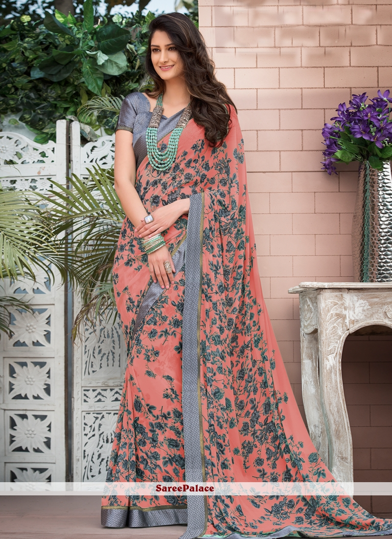 Peach Faux Georgette Abstract Printed Saree