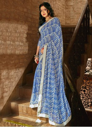 Abstract Print Faux Georgette Printed Saree in Blue