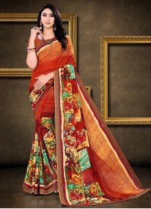 Faux Georgette Abstract Printed Saree in Multi Colour