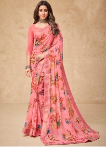Faux Georgette Abstract Printed Saree in Pink