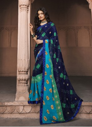 Faux Georgette Blue Abstract Print Saree