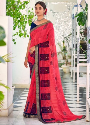 Faux Georgette Abstract Print Saree in Rose Pink