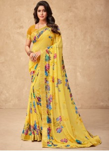 Faux Georgette Abstract Print Yellow Saree