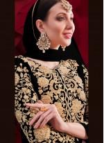 Faux Georgette Anarkali Suit in Black