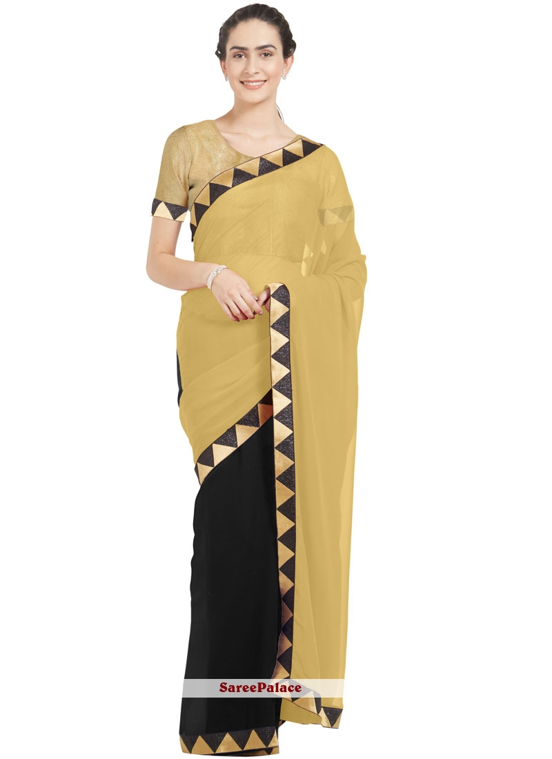 Faux Georgette Beige and Black Casual Saree