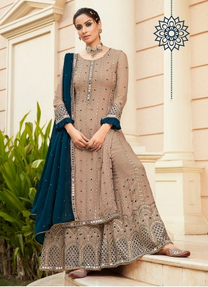 Faux Georgette Beige Embroidered Designer Palazzo Salwar Suit
