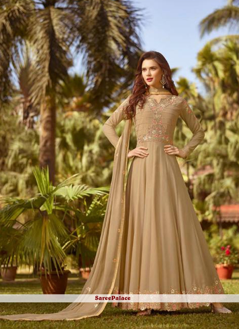 Faux Georgette Beige Embroidered Floor Length Anarkali Suit