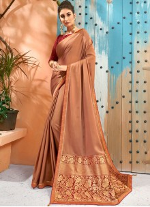 Faux Georgette Beige Woven Traditional Saree