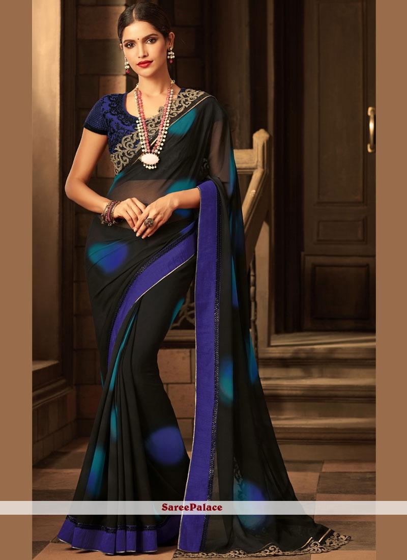 Faux Georgette Black and Blue Classic Designer Saree