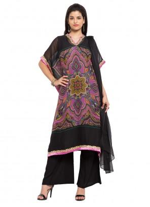 Faux Georgette Black and Pink Readymade Salwar Kameez