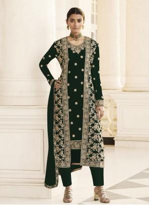 Faux Georgette Black Designer Pakistani Suit