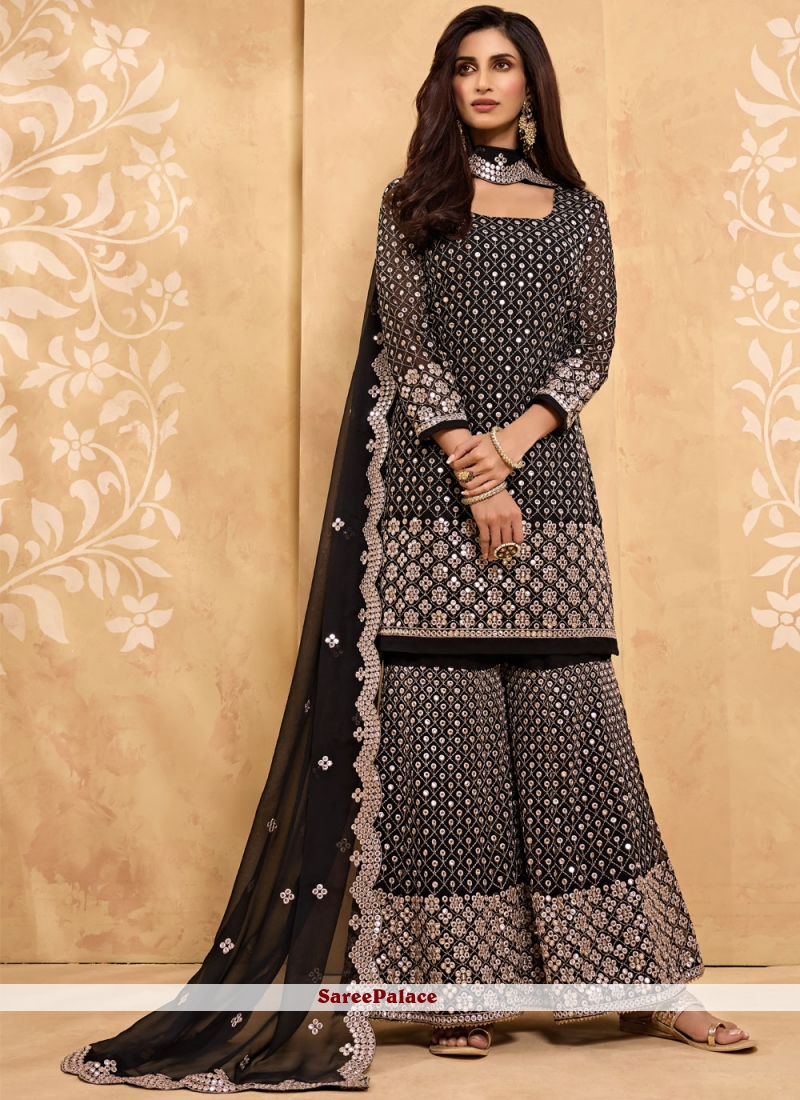 Faux Georgette Black Designer Palazzo Salwar Suit