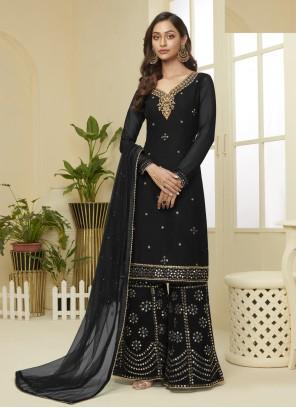 Faux Georgette Black Embroidered Designer Palazzo Salwar Kameez