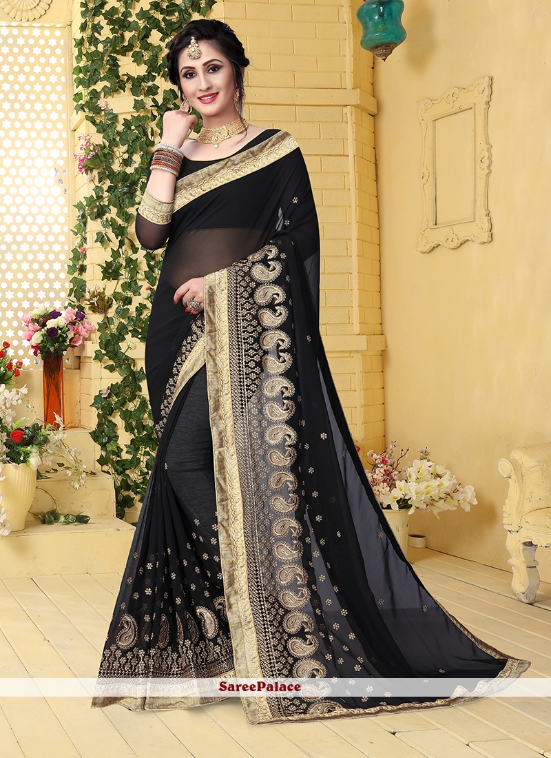 464e683f26 Buy Faux Georgette Black Embroidered Saree Online