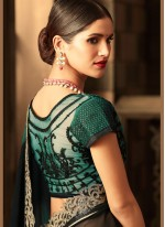 Faux Georgette Black Embroidered Work Classic Saree