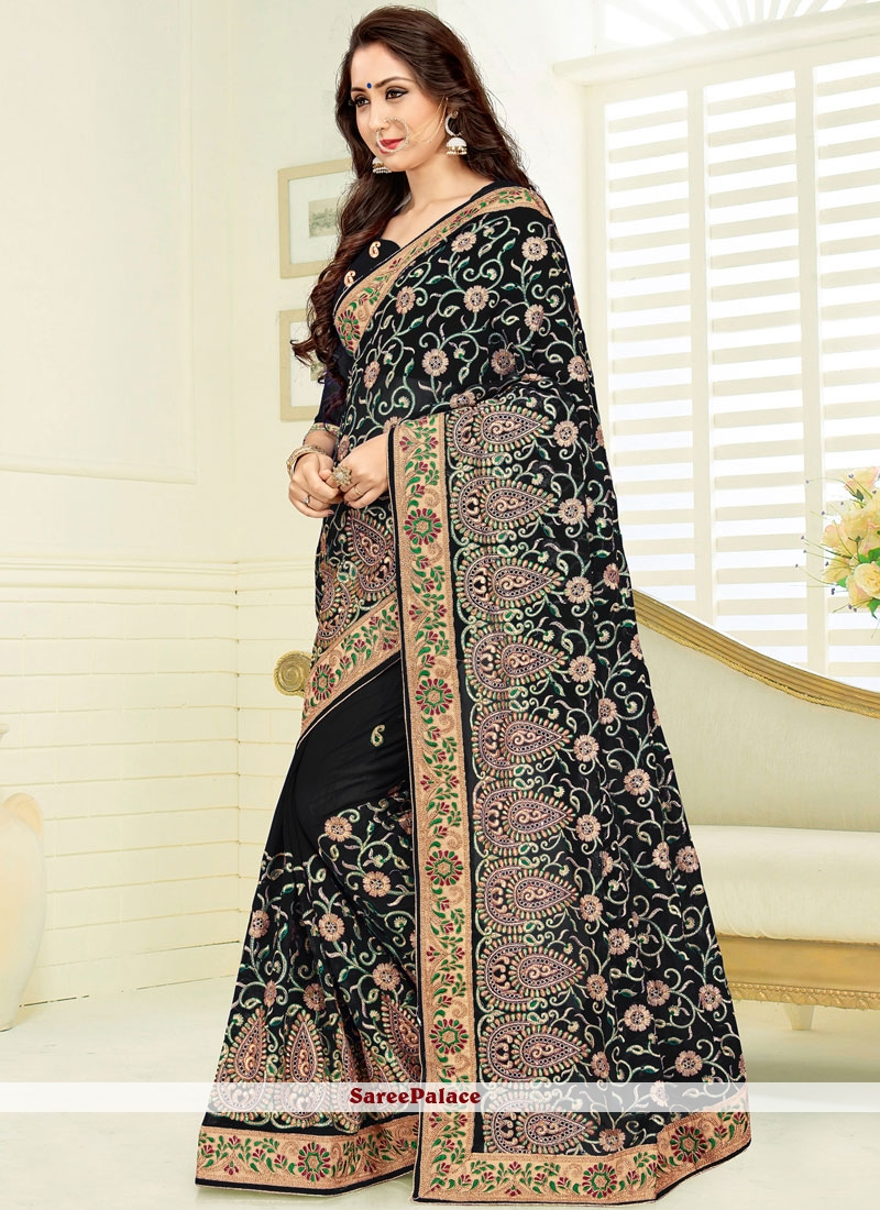 89801ee1a193e4 Buy Faux Georgette Black Patch Border Work Designer Traditional Saree Online