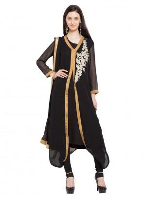 Faux Georgette Black Patchwork Readymade Churidar Salwar Kameez