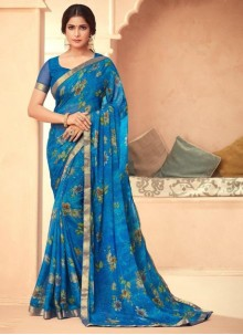 Faux Georgette Blue Abstract Print Traditional Saree